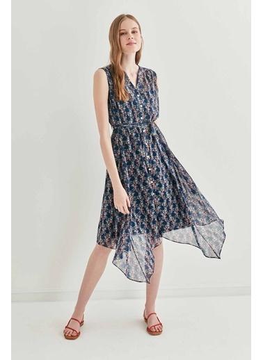 Vitrin VİTRİN Sıfır Kol Belden Bağcıklı Elbise Lacivert